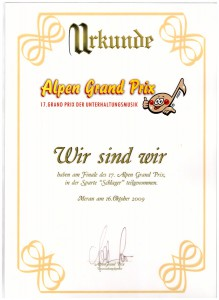 Urkunde Alpen Grand Prix